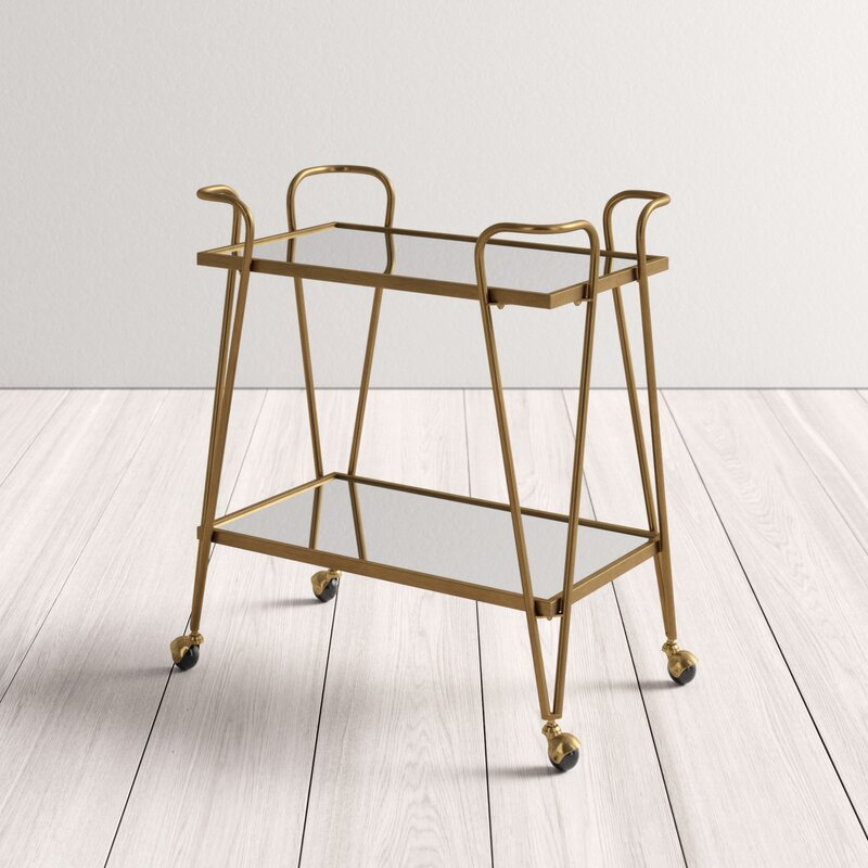 Gold bar cart with mirrored bottom