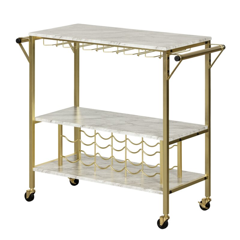 Marble and Gold Bar Cart