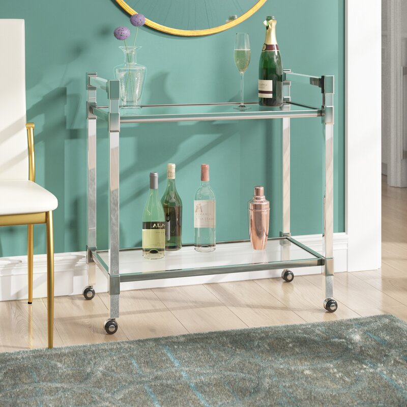 Lucite and silver bar cart