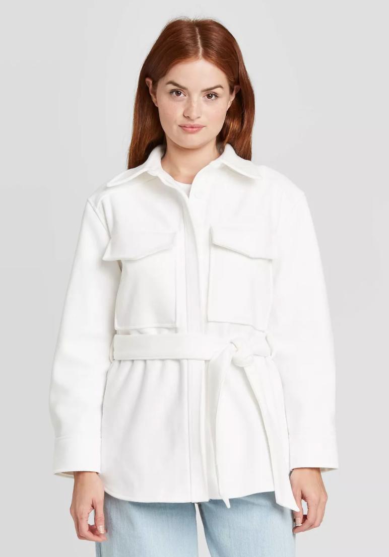 Prologue Long Sleeve Belted Herringbone Shirt Jacket